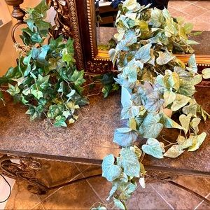 Faux floral greenery, Ivey, moss, feathers, shroom